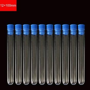 12x100mm Experiment Equipment Transparent Plastic Test Tube Scientific Radiolysis Tube Laboratory Supplies 10pc