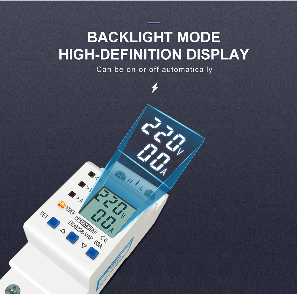 H6a29564345eb48778d8374e58decc9ac0 - 63A 80A 110V 230V Din rail adjustable over under voltage protective device current limit protection Voltmeter ammeter Kwh
