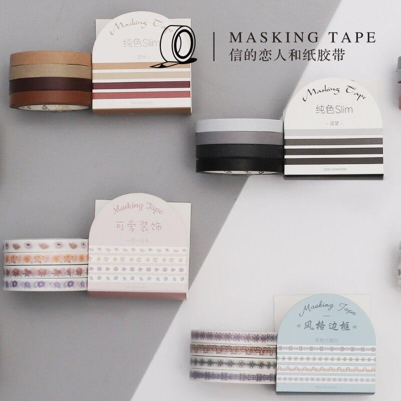 AngelHere Store 4 Pcs/set  Masking Tape Separation Line Pattern Very Thin Masking Tape  Planner Book Decoration School Supplies