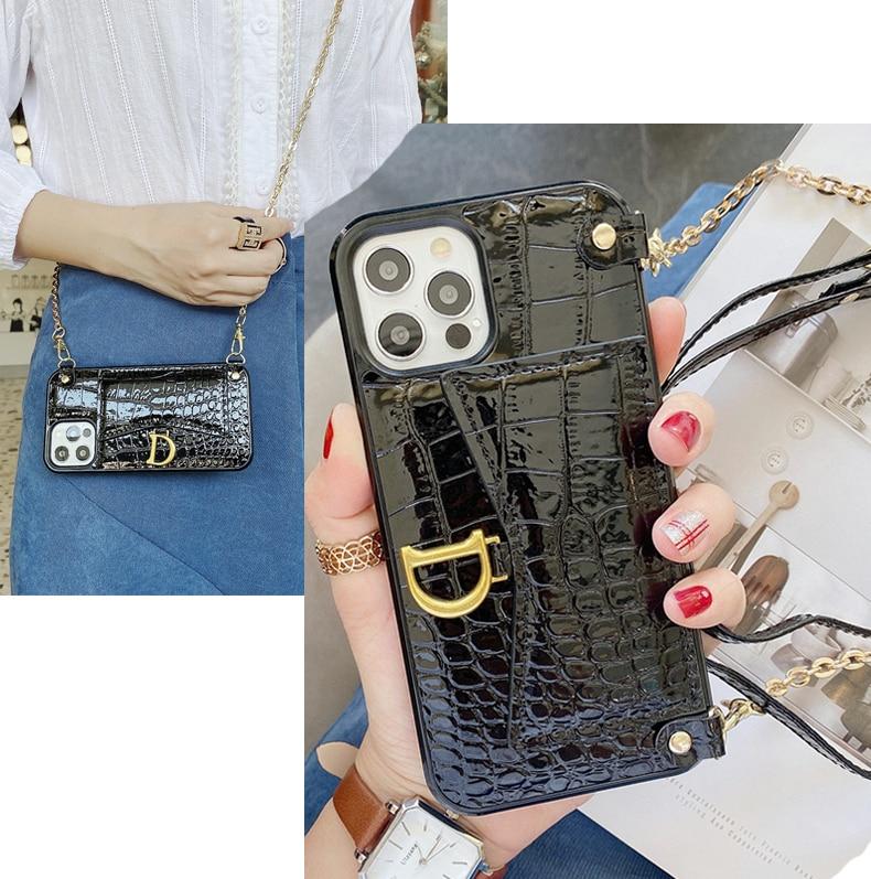Кожаный чехол-бумажник с ремешком и цепочкой для IPhone 12 11 Pro Max
