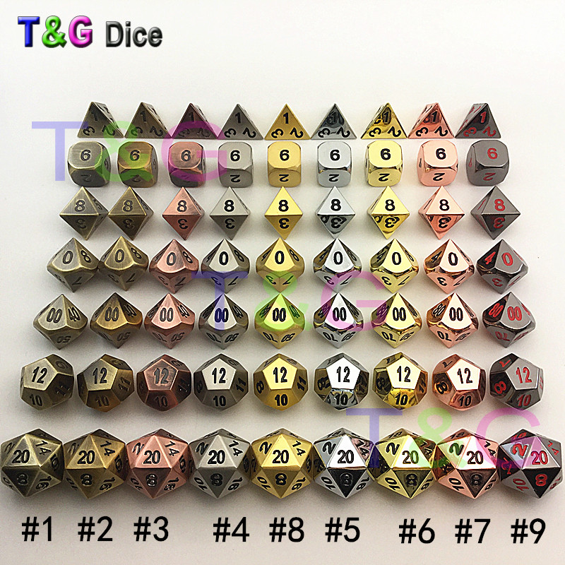 TOP Quality Metal Dice Set D4-d20 For Board Games Rpg Dados Jogos Dnd With Box As Christmas,Birthday Gift