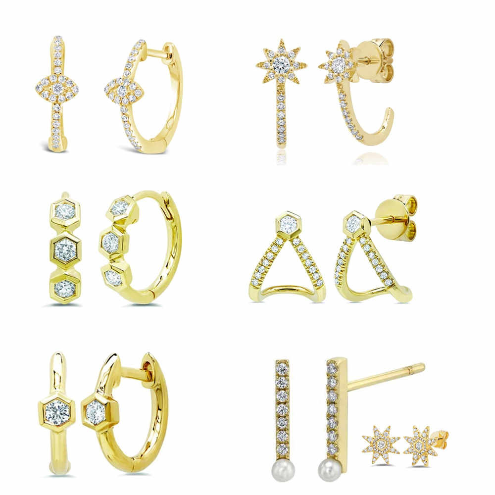 Slovecabin 925 Sterling Argento di Buona Mini Huggies Hoops Orecchino Piccolo Cerchio Loop Donna Rotonda Ear Accessori Dei Monili Cristalli