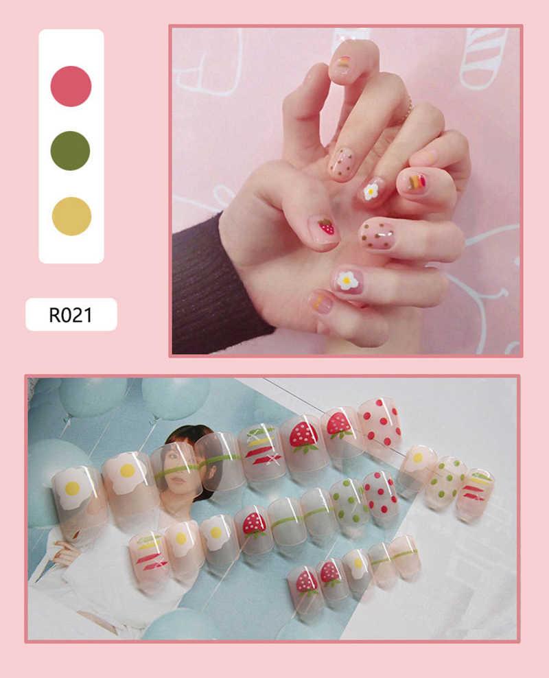 Новые Накладные ногти, Готовые накладные ногти, накладные ногти, пригодные для носки, наклейки для ногтей, водонепроницаемые, 24 штуки в упаковке, маленькие свежие девушки, серия TSLM1