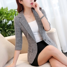 Women Plaid Blazer 2020 Elegant Long Sleeve Turn Down Collar Office Jacket Casual Female Outerwear Femme Suit  Blazer Plus Size