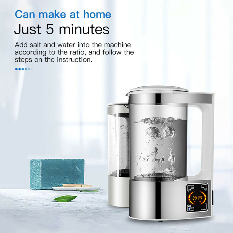 Electric Hydrogen Water Generator Disinfection Water Maker Indoor Portable Hypochlorous Acid Water Making Machine 2L