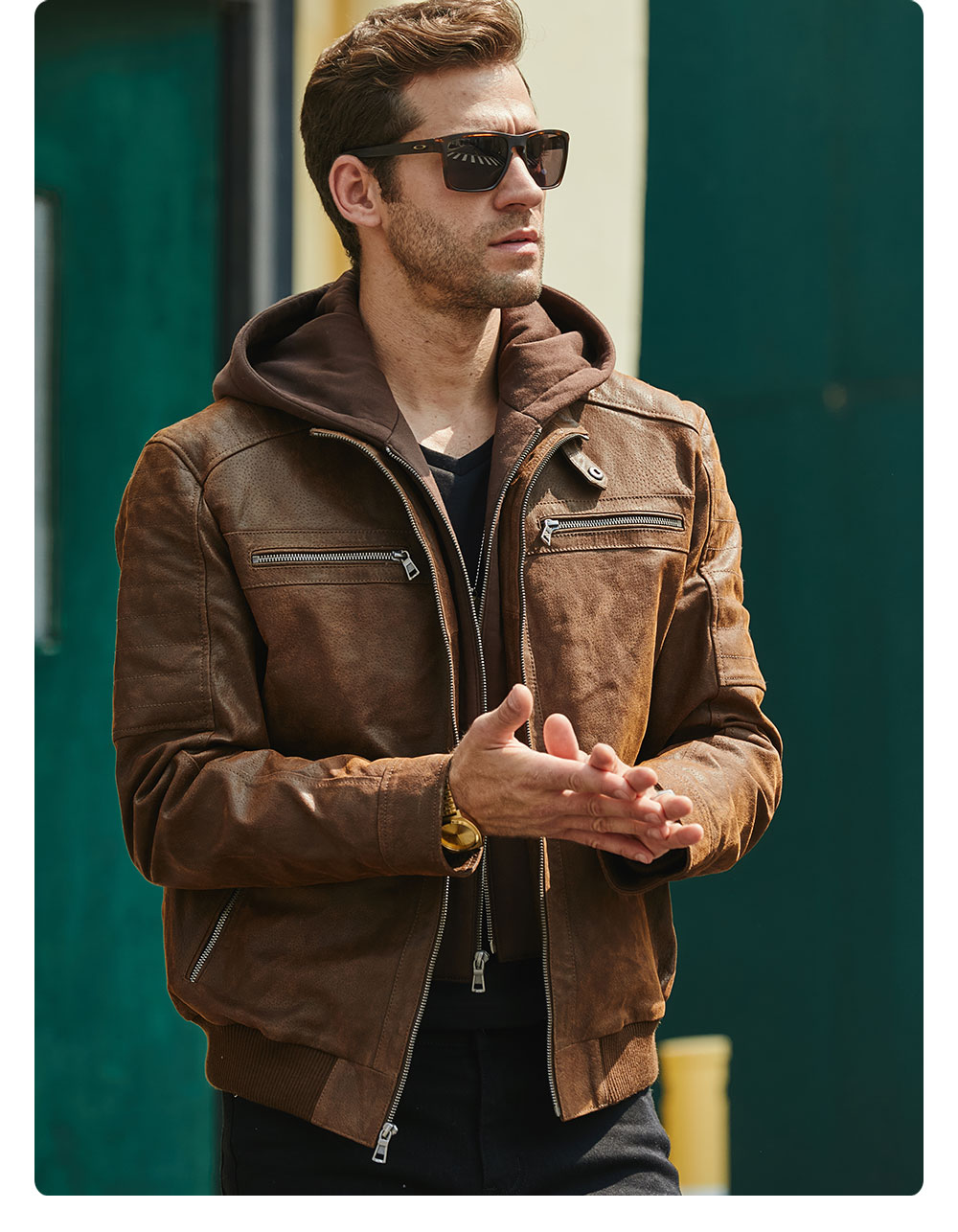 H6a29f82e609544dda674bceca704cd3eN New Men's Leather Jacket, Brown Jacket Made Of Genuine Leather With A Removable Hood, Warm Leather Jacket For Men For The Winter