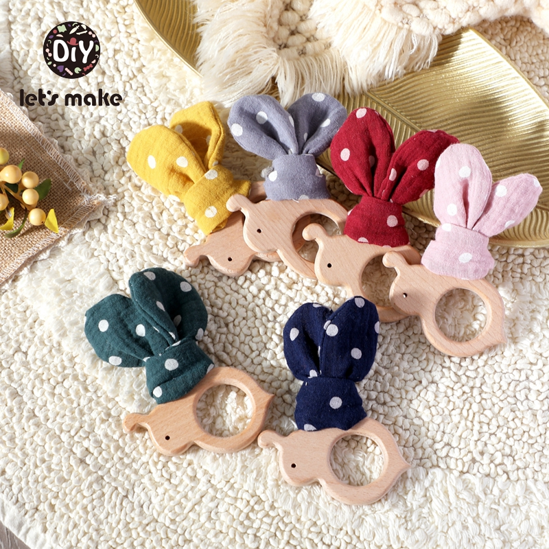 Let's Make Baby Teether Wooden Rodent Bunny Ear 1pc Bee BPA Free Animal Beech Pendant For Pacifier Baby Products For Newborns