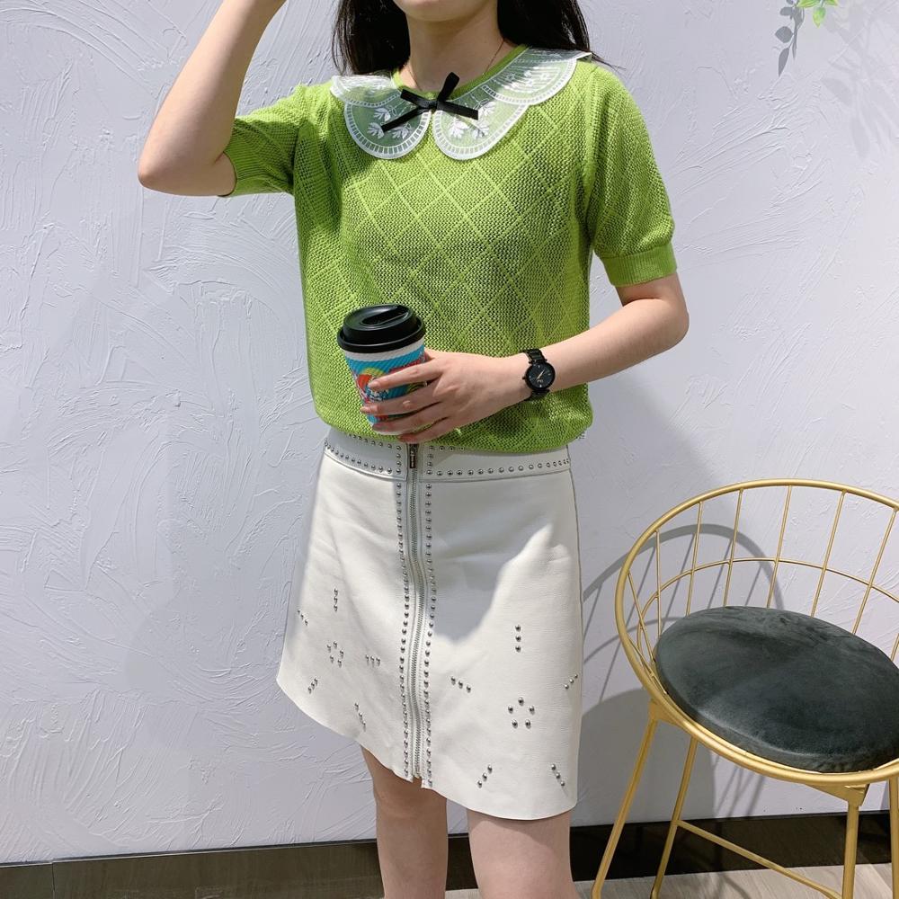 Pull à tricoter en dentelle à manches courtes pour filles d'été
