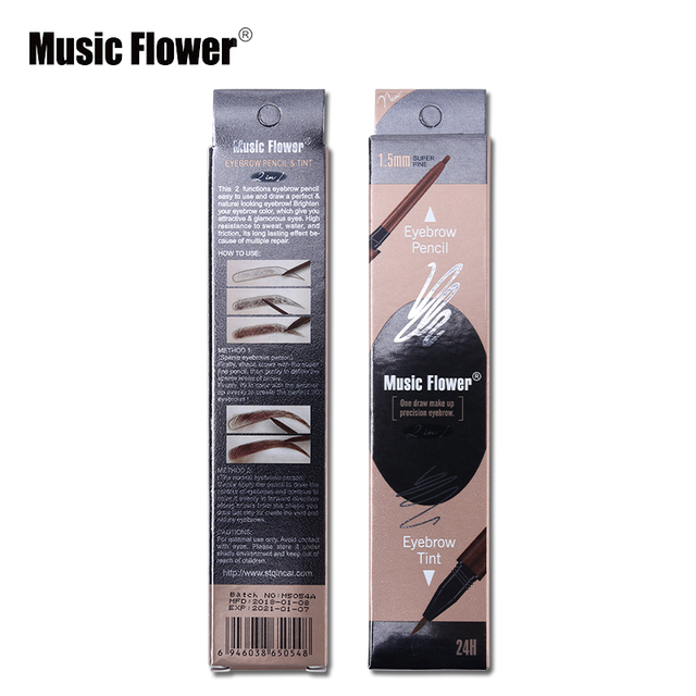 Music Flower Brand Cosmetic Eyes Makeup Matte Natural Double Head Eyebrow Pencil +Eyebrows Tint Liquid Waterpoof Long-lasting 5