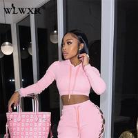 WLWXR-Sudadera con capucha para mujer, de manga larga, color blanco con cordón, rosa, Espalda descubierta, 2021