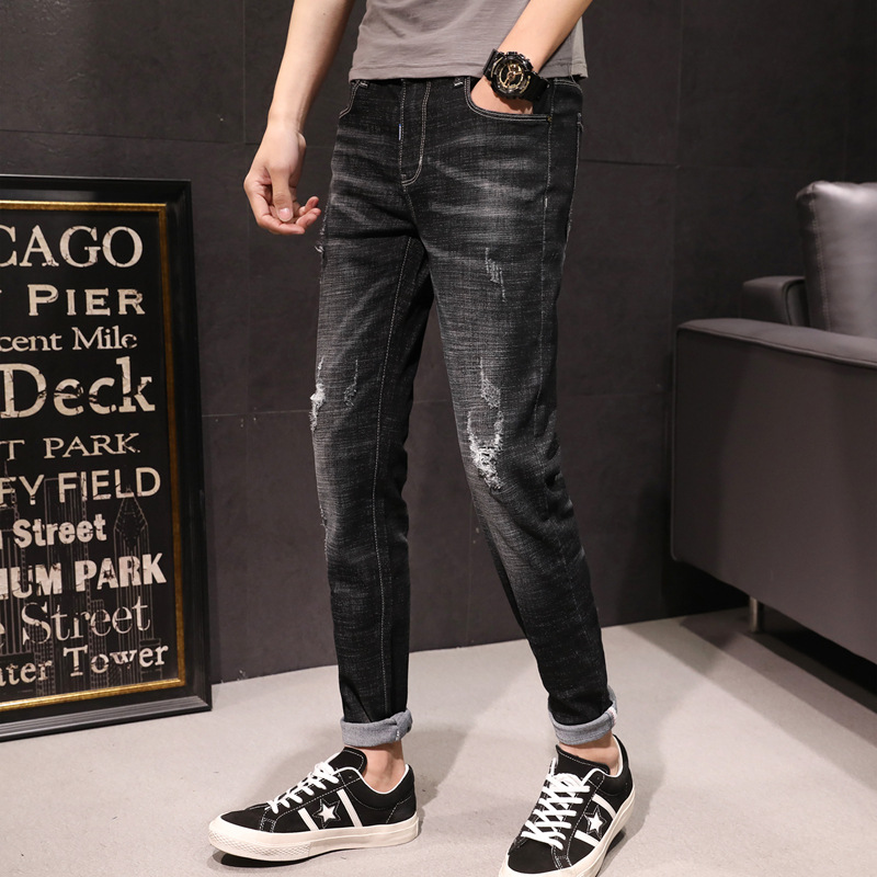 Spring And Summer-MEN'S Jeans Youth Washing Scraping Rotten Pants Elasticity Versatile Slim Fit Pants Trousers Men's Trend