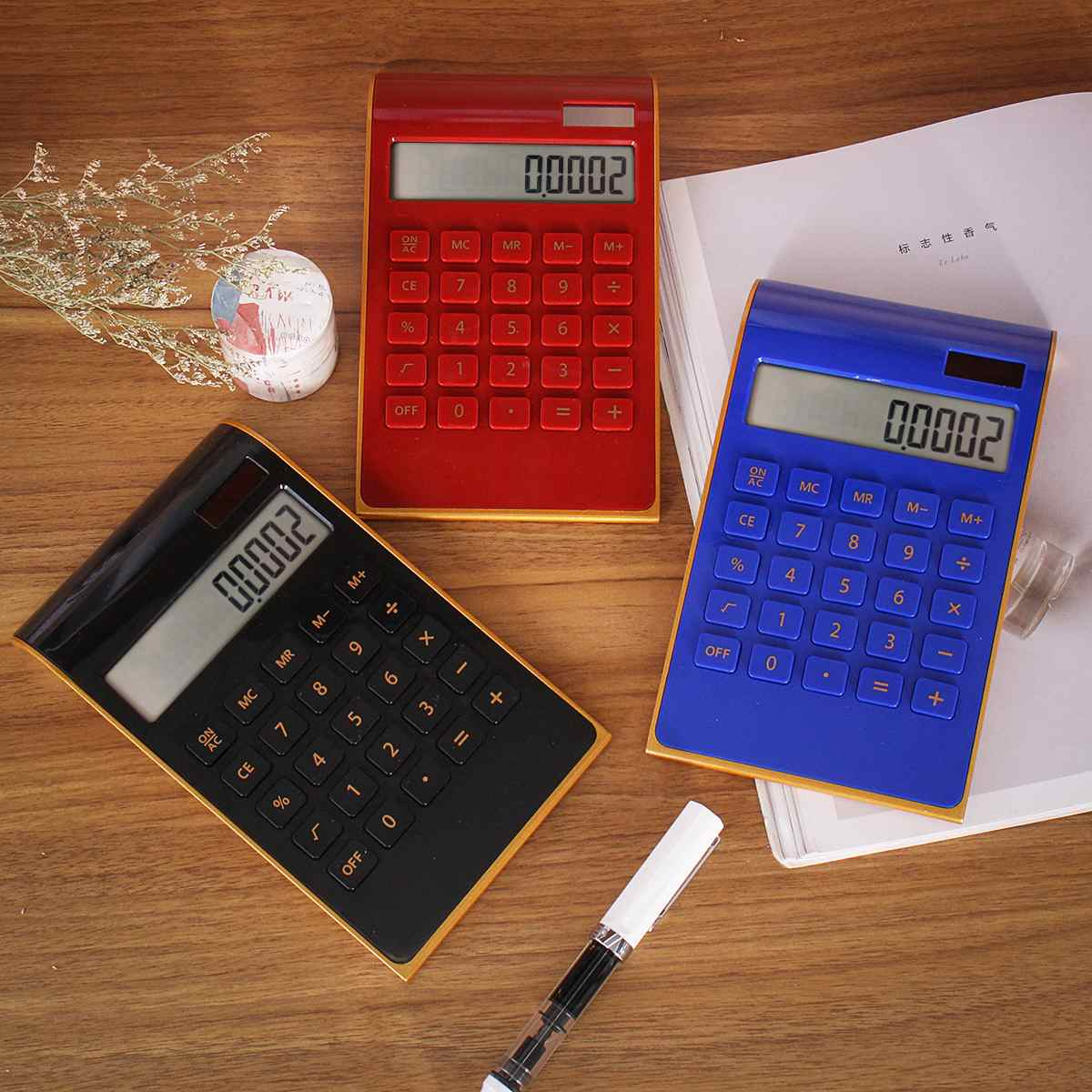 Slim Portable Calculator Solar Energy Battery Dual Power 10 Digital LCD Display Electronic Calculating Tools For Office School