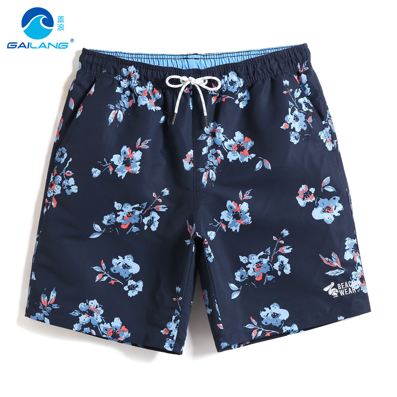 Gailang Men's Bathing suit Black Flowers Quick dry surfing   Board     shorts   Swimsuit plavky sport de bain homme Beach   shorts