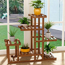 Wooden Flowerpot Rack Plant Pot Stand Flower Pot Shelf Decor (Light Brown)