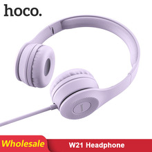 HOCO W21 2 pcs/Lots סיטונאי חוט אוזניות מתקפל אוזניות אודיו Mp3 מתכוונן אוזניות עם מיקרופון שיחת תמיכה