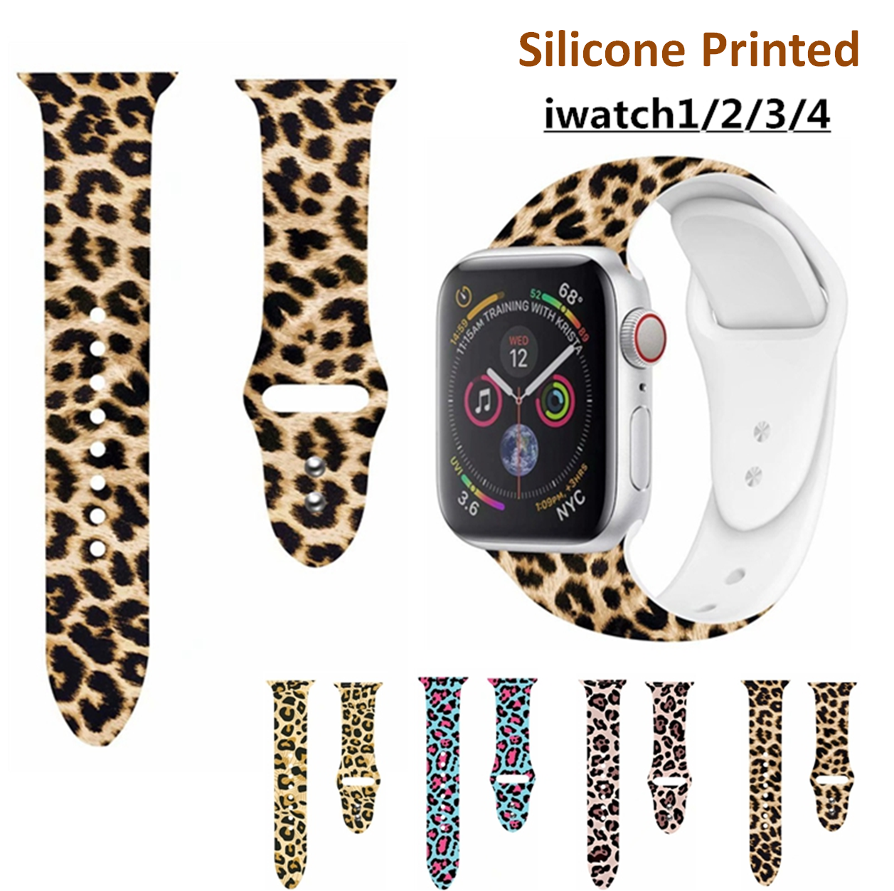 Apple Watch Band Floral Leopard Silicone Printed Replacement  Strap Bracelet Wristband For Iwatch 1 2 3 4 Four Style