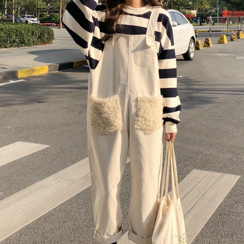 Jumpsuits Women Loose Solid Pockets Denim BF Simple Ankle-length Casual Korean Style Chic Fashion Trendy Womens Daily Streetwear
