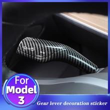 For Tesla Model 3 Wiper Gear Rod Decorative Sticker Carbon Fiber Pattern 2-Piece  Red/Black Original Car Modification Gear Lever