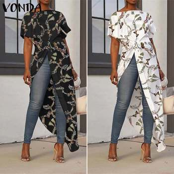 Women Asymmetrical Tops 2020 Summer Tunic Bohemian Ladies Shirts Vintage Floral Printed Long Blouse Female Plus Size Blusa S-5XL 8