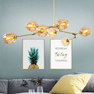 Image 2 - Nordic Industrial Style LED Ceiling Lights Glass Ceiling Lamp Restaurant Hanging Lamp Living Room Lamp Bedroom Cafe