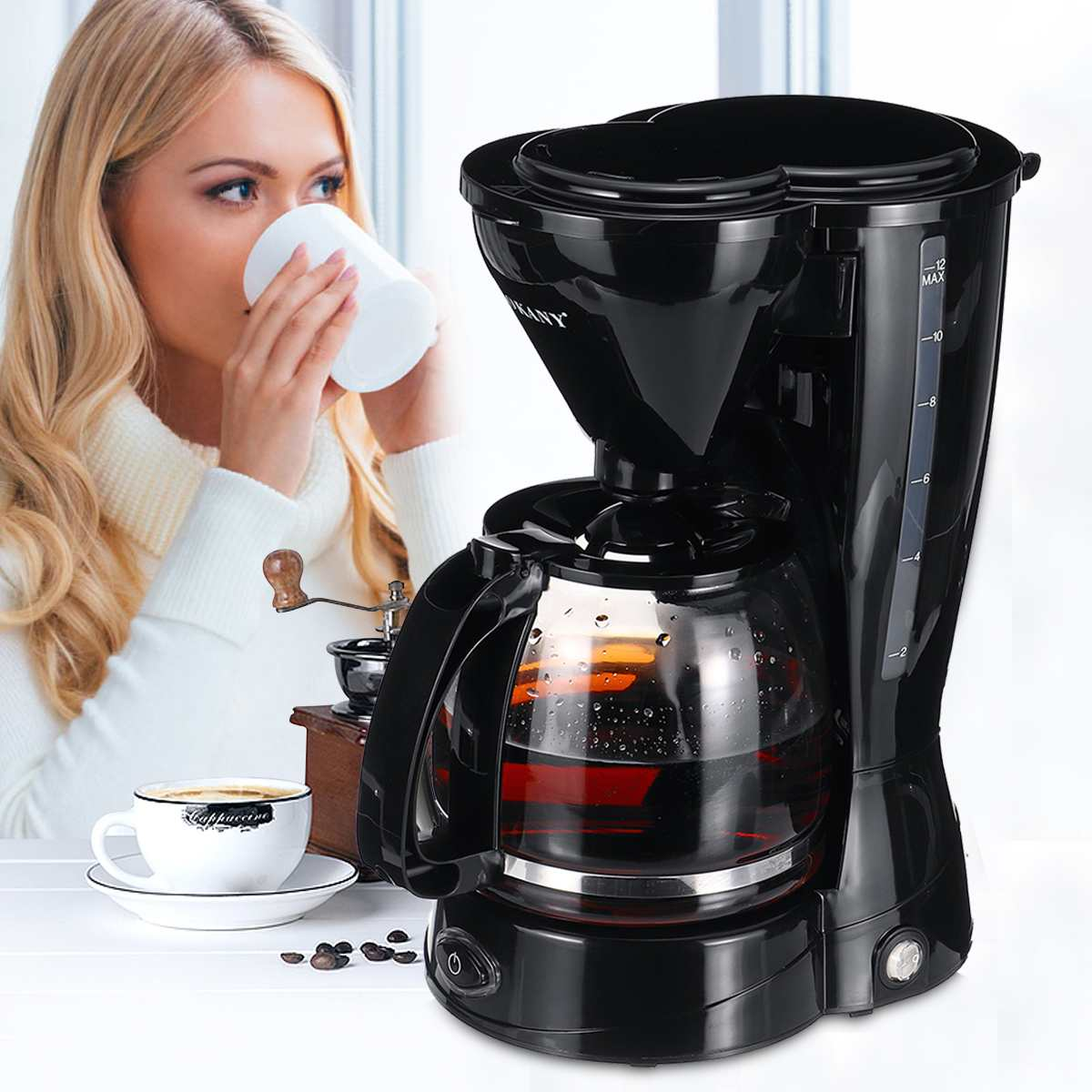Portable Coffee Maker 10-12 Cups Electric Drip Espresso Coffee Maker 220V Household Tea Pot Cafe Machine Instant Heat Coffee Pot