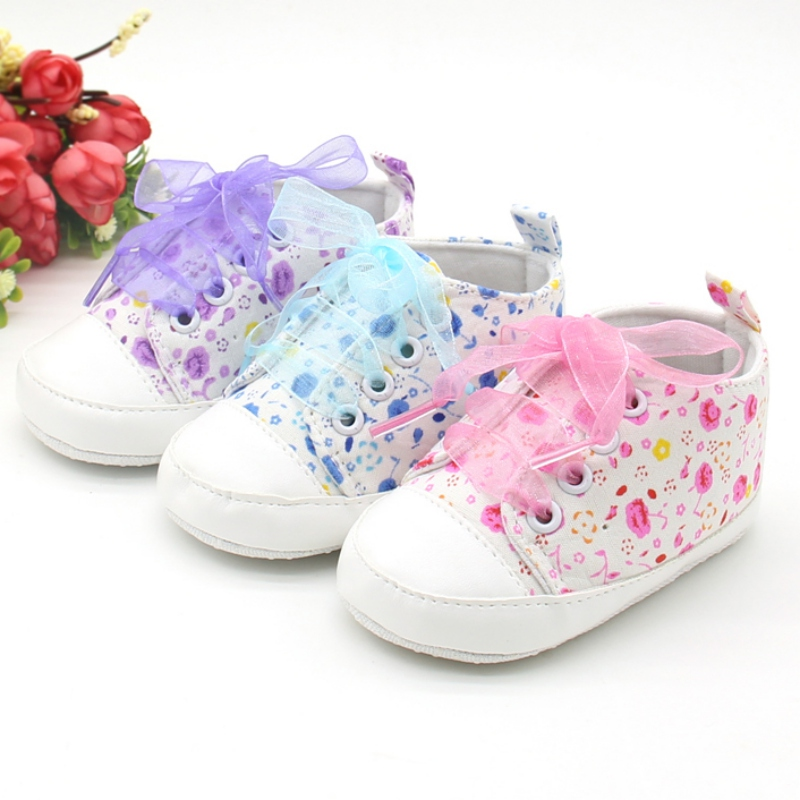Baby Girls Shoes Canvas Flower Ribbon First Walker Baby Girl Sneaker Lace Up Soft Sole Prewalkers Unisex Sneaker