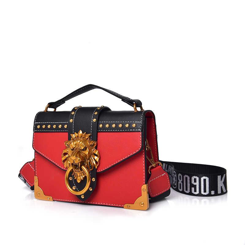 2019 INS mujer moda adolescentes chica hip hop bolsos de hombro con hebilla de León de metal lady crossbody packs mujer sling viaje totes