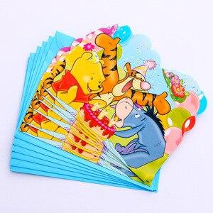 Image 5 - Childrens birthday party supplies Winnie the Pooh cartoon theme set Baby birthday dress set supplies cups dish straw tablecloth