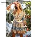Женское летнее платье с цветочным принтом, пикантное платье с рукавом три четверти и v-образным вырезом, богемное пляжное платье мини, винта...
