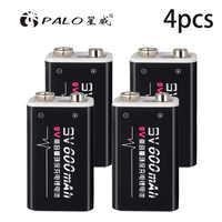¡Oferta! 4 unids/lote 600mAh baterías recargables Li-ion 9V para detectores de humo micrófonos inalámbricos protección del medio ambiente