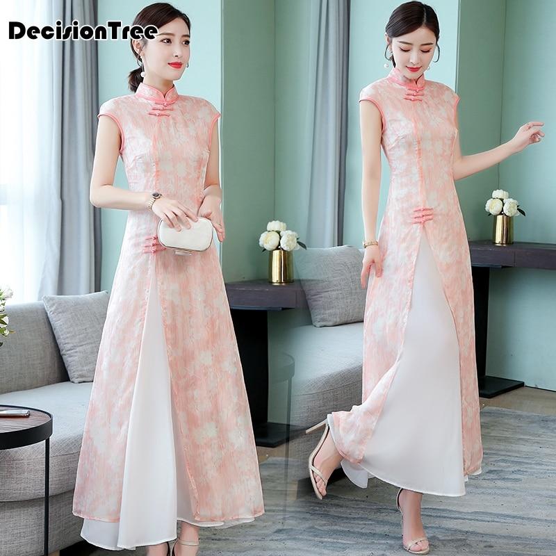 2019 Cheongsam Ao Dai Vietnam Chiffon Qipao Robe Orientale Vietnam Clothing Vintage Mandarin Collar Elegant Qipao Modern