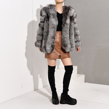 Blue fox vertical coat fur female winter V-neck blue new fashion high quality leather