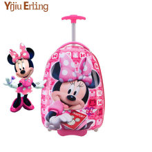 2018 New Girl 16 Inch Cartoon Children's Rolling Suitcase Children's Suitcase Boy Princess Mickey ABS Trolley Case Boarding Box(China)
