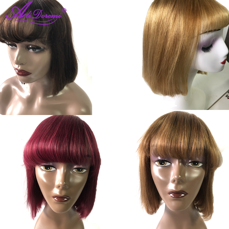 Alidoremi Peruvian Straight Hair Human Hair Wigs Pre Plucked Short Bob Wig  #2 For Woman Burgundy 99J Wig #530 Machine Made #27