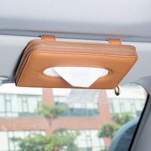 Image 4 - Yüksek kaliteli araba oto güneşlik doku kutusu kağıt peçete tutucu iç aksesuarları havlu asılı tipi deri Patere lüks