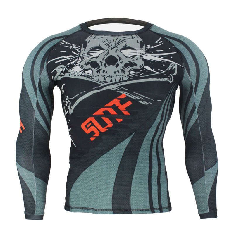 Men Boxeo Running Tights Tiger Muay Thai MMA Rashguard Kick Boxing T Shirts Long Sleeve Sanda Fighting Grappling Workout Clothes