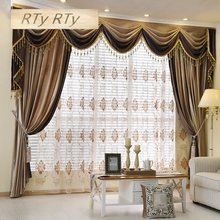 Luxury European Style Thickening Shading Pure Color Italy Velvet Head Curtains for Living Room Modern Window Valance for Bedroom(China)