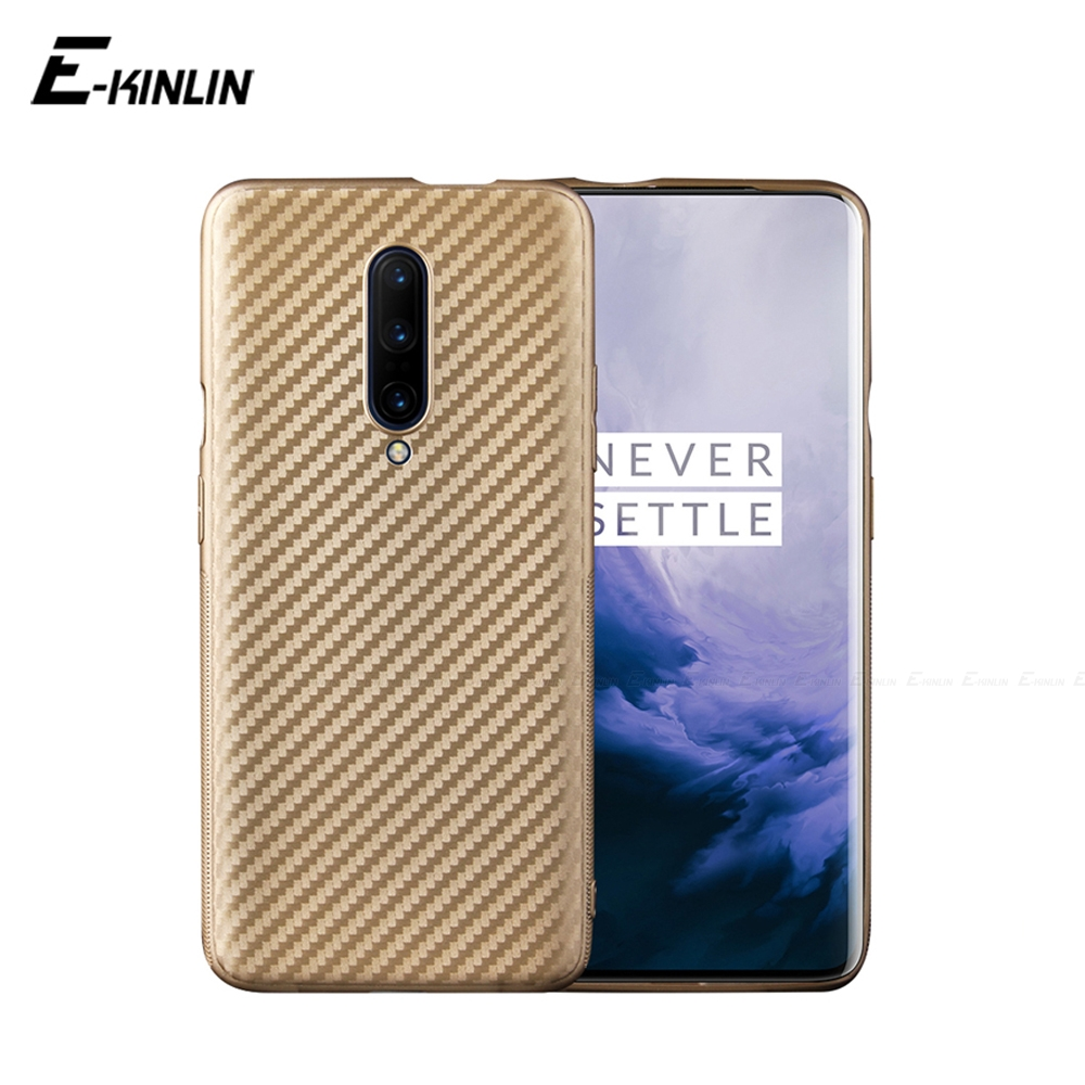 Carbon Fiber Phone Protective Case Back Cover For OnePlus One Plus 8 7T Pro 7 5T 5 A5010 A5000 Soft Silicone TPU Phone Cases image