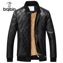 High Quality Winter Jackets Men Leather Slim Outwear Bomber Jacket Pu Motorcycle Leather Jacket Men Fur Coat Dropshipping(China)