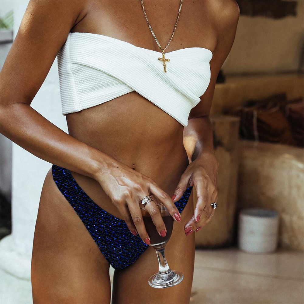 Low Waist Bathing Flash Off Shoulder Bikini Set