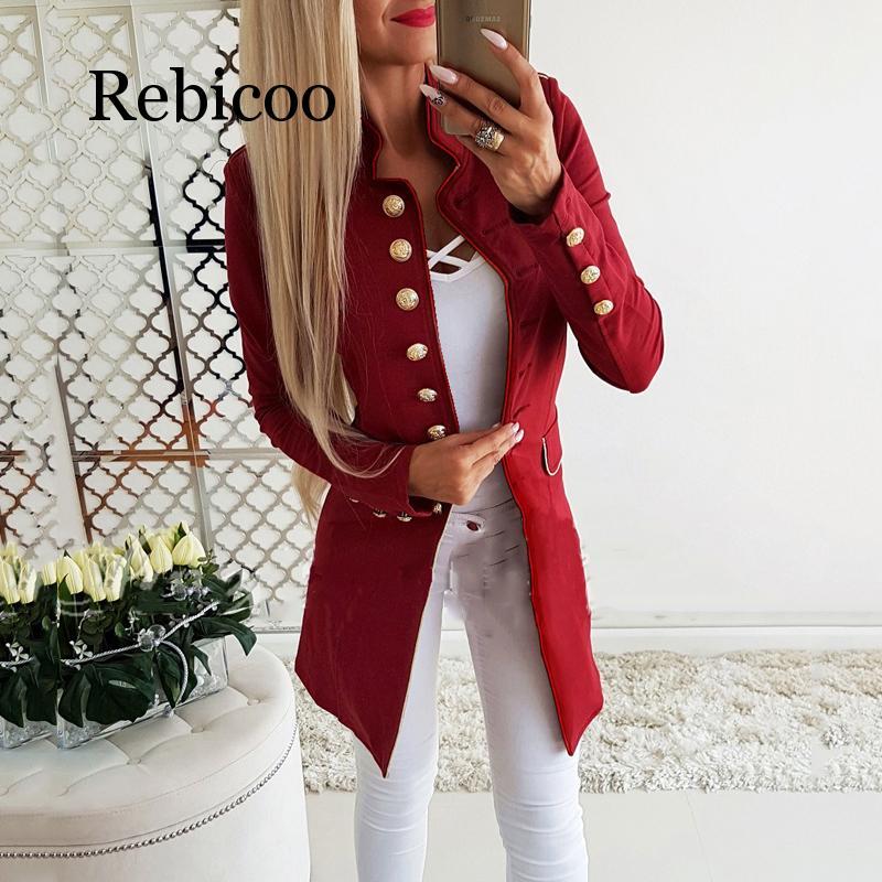 Women Blazers Jacket Coat Autumn Slim Fit Business Blazer Long Sleeve Office Ladies Work Suit Vintage Single Breasted Fall Coat