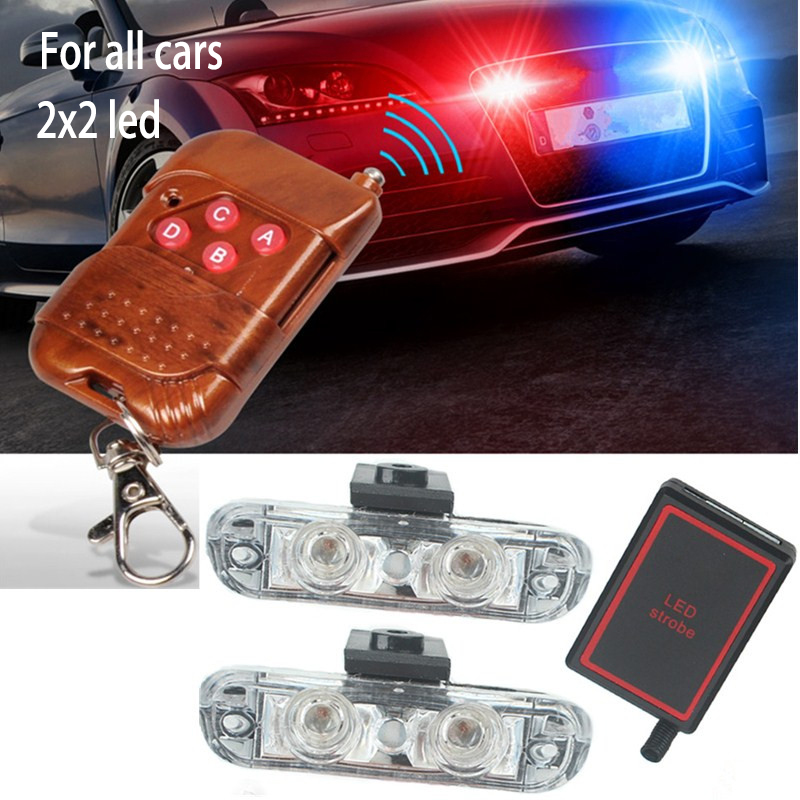 New 1Set DC 12V 2 LED Wireless Remote Flash Controller Car Truck Police Light Red and Blue Flashing Strobe led LED Warning Light
