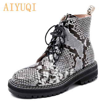 AIYUQI Women shoes  2020 Women Martin Boots Spring Genuine Leather Ladies Snake Mosquito Fashion Lace  Ankle Boots allbitefo natural genuine leather snake texture cow leather women ankle boots fashion sexy motorcycle boots girls winter shoes