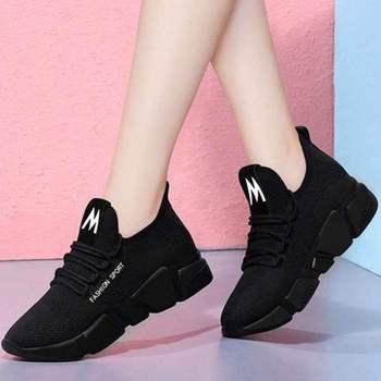 Damskie casualowe buty sportowe sportowe buty 2020 jesienne oddychające siatkowe trampki zasznurowane tenisowe damskie buty antypoślizgowe miękkie podeszwy tanie i dobre opinie Noworry Mesh (air mesh) CN (pochodzenie) Haftować Mieszane kolory Dla dorosłych Wiosna jesień Med (3 cm-5 cm) Pasek klamra