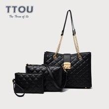 Moda TTOU, 3 unids/set de bolsas de celosía de diamante, bolsos de hombro de estilo clásico de cuero de calidad para mujer, bolso de mano Vintage 2019