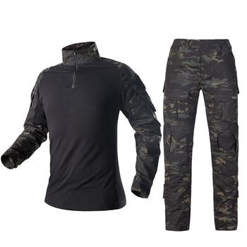 Camouflage Combat Shirt Pants Suit Military Tactical Uniform US Army BDU Multicam Black Men Airsoft Sniper Camo Hunting Clothes 2