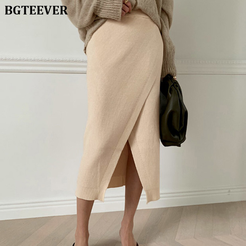 2019 Autumn Winter Thick Women Knitted Skirt High Waist Hip Package Female Sweater Skirts Workwear Side Split Ladies Skirt