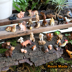 Resin Miniature Animals Fairy Garden Mini Forest Farm Animal Realistic Micro Tiny Animals Figurines Squirrel Chicken Bunny Set