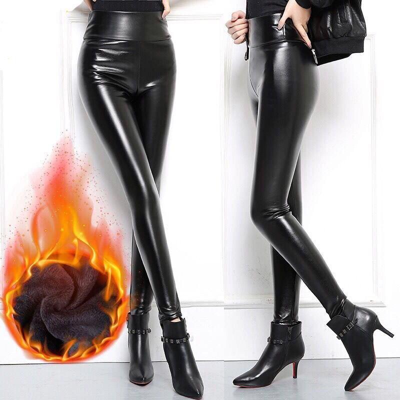 Sizes grandes PU cuero pantalones mujeres nueva cintura elástica cadera arriba negro Sexy mujer Casual lápiz Delgado pantalones