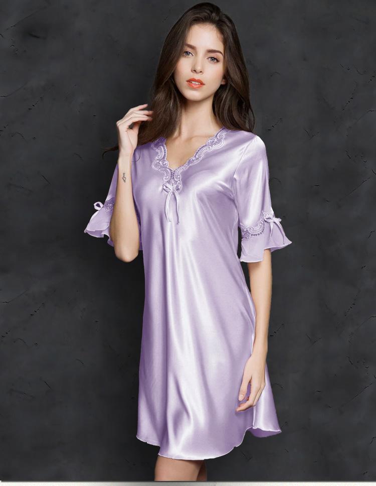 H6a2b77e4c59b485e8ee3d9d7fb6f347ei Sleep Wear V-neck Sleepdress Version Ice Silk Short Sleeve Lace Skirt Nighty Sexy Sleepwear Women Silk Lingerie Sleeping Dress